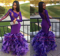 Wholesale dresses fashion nigerian online - Black Girls African Nigerian Purple Long Prom Dresses Long Illusion Sleeves Floor Length Ruffles Tiered Evening Party Wear vestidos