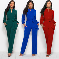 Wholesale womens winter overalls - Womens Autumn Deep V-neck Party Rompers Buttons Casual Overalls Long Sleeve Autumn Winter Jumpsuits Turn-Down Collar Full Pants Plus Size