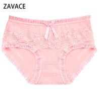Wholesale Cute Lace Comfortable Underwear - ZAVACE 3pcs lot Comfortable Cotton candy color lace bow cute cotton lady panties girls panties women's underwear