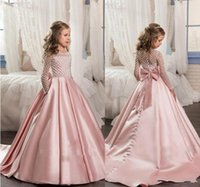 Wholesale Train Birthday - 2018 Pink Vintage Flower Girl Dresses A Line Jewel Long Sleeve Sweep Train Girls Pageant Dresses With Lace Bow Satin For Wedding Party