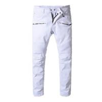 Wholesale hip hop skinny harem style - 2018 balmain mens designer biker jeans solid color fashion skinny Jogging pants casual man trousers brand Hip Hop Harem pants for man