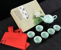 Wholesale Bone China Teapots - 7 pcs set Elegant Chinese Ceramic cups Genuine Kung Fu Tea Set Chinaware tea set Teapot Tea Cup