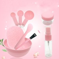 Wholesale diy beauty sponge online - 9PCS Set Travel Beauty Makeup Tool Set Kit DIY Facial Face Mask Bowl Brushes Measuring Spoon Stick Spray Bottle Seaweed Sponge