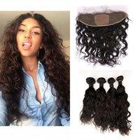 renk 32 saç örgüsü toptan satış-Moğol İnsan Saç Paketler İpek Bankası Dantel Frontal Kapatma Ile Orta Kısmı Doğal Renk Su Dalgası Bakire Saç Örgüleri LaurieJ Saç