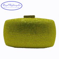 Wholesale clutches for prom - Wholesale Crystal Hard Case Box Clutch Eveing Bag and Clutches for Women's Party Ball Prom Bridal Wedding Purple Yellow Orange
