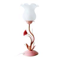 luzes de ferro rosa venda por atacado-OOVOV Rosa Flor de Ferro Menina Mesa de Luz Criativa Princesa Sala de Luzes Da Tabela de Cabeceiras de Quarto Lâmpadas de Mesa