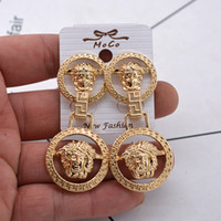 Wholesale earring heads - Gold Plated head Earring fashion brand new style crystal Round Medusa Stud For Women Girl Gift