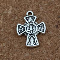 pingentes de religião venda por atacado-Jesus Crucifixo Cruz Religião Encantos Pingentes 100 Pçs / lotes 18x24mm Antique Silver Moda Jóias DIY Fit Pulseiras Colar Brincos