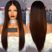 bütünsel saç 1b 33 toptan satış-Kalite 1b / 33 # Ombre Kahverengi Uzun Düz Peruk Sentetik Dantel Ön Peruk Bebek Saç ile Isıya Dayanıklı Fiber Saç Siyah Kadınlar için Peruk