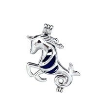 Wholesale unicorn locket for sale - Group buy 10pcs Silver Alloy Running Horse Unicorn Fairy Tales Oysters Beads Cage Locket Pendant Aromatherapy Perfume Essential Oils Diffuser