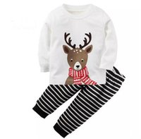 Wholesale family christmas outfits - Christmas kid pajamas outfits top+pant deer white black 2-piece kid clothing baby cotton long sleeve clothes boy girl family outfits suit B1