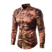 lange hülse weinlese silk kleider großhandel-Mens Slim Fit Langarm-Shirt 2018 Marke New Vintage Print Silk Satin Hemd Männer Casual Button Down-Hemden Camisas Hombre
