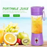 Wholesale blender smoothies - Portable 380ml USB Electric Fruit Juicer Handheld Smoothie Maker Blender Rechargeable Mini Portable Juice Water Bottle