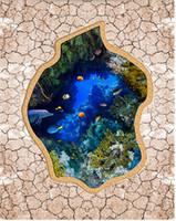 Wholesale bathroom vinyl flooring - wallpaper 3d stereoscopic Underwater world coral 3D floor vinyl flooring bathroom