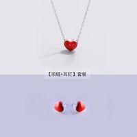 çocuklar gümüş takı setleri toptan satış-Kadınlar için 925 gümüş Küpe + kolye Moda Takı Setleri Sevimli Tiny Kırmızı Sır Kalp Saplama Küpe Kızlar Çocuklar Için Lady Hediye