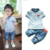 Wholesale cool newborn baby clothes for sale - Group buy Summer New baby boys summer clothes newborn children clothing sets for boy short sleeve shirts jeans cool denim shorts suit