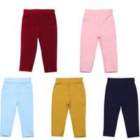 pantalones flojos chicos al por mayor-Moda Niños Niño Bebé Niña Estiramiento Pantalones Ropa Pantalones Pantalones ocasionales Bottoms