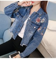 Wholesale hem jacket - New Arrival Floral Embroidery Bomber Jean Jacket Long Sleeve Short Denim Jacket For Women Irregular Burr Fringe Hem Casaco Feminino