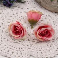 libros de recortes de diseño al por mayor-Nuevo 4cm Diseño fresco del brote de Rose flores artificiales para DIY partido del coche del hogar de la boda de la guirnalda hecha a mano de la corona decoración del libro de recuerdos del arte