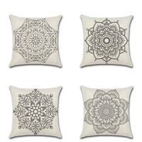 Wholesale vintage flax - Mandala Bohemia Pillows Covers Flax Cushion Cover Soft Vintage Style Pillow Case For Bedroom Sofa Decoration 4 8kh C RZ