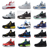 Wholesale grey green paint color - 2018 men 4 Basketball shoes Military Motosports blue Alternate 89 Pure Money White Cement Royalty bred Fire Red Black Cat oreo sneakers