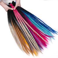 ingrosso capelli di intreccio ombre-Estensioni dei capelli Dreadlocks fatti a mano 5 fili 24 pollici Ombre Crochet Capelli sintetici all'uncinetto Treccia capelli per le donne
