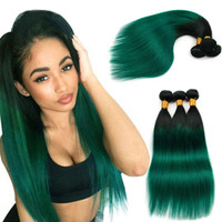 Wholesale weft 1b straight online - Indian Straight Human Hair Weave Bundles Virgin Human Hair Extensions Two Tone B green Ombre inch Sexy Indian Remy Hair Weave