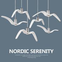 luz colgante pájaros al por mayor-Nordic Resina Gaviota Colgante Luz Cielo Libertad Pájaro Gaviota Silueta Lámpara