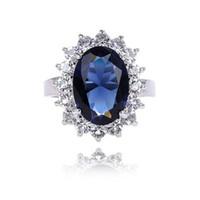 kate diana toptan satış-Klasik İngiliz Kate Prenses Diana Nişan Yüzüğü Moda Zirkon Kristal Retro Yüzükler Kadın Kadın Kuyumcu