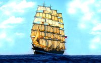 Wholesale sailing ship oil paintings resale online - Cartoon Art Sailing Ship Oil Painting Reproduction High Quality Giclee Print on Canvas Modern Home Art Decor B1117