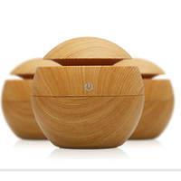 Wholesale electricity air - 130ml Wood Grain Humidifier Ultrasonic Humidifier Air Purifier Atomizer Mist Maker Fogger Essential Oil Aromatherapy Diffuser for Home Yoga