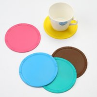 Wholesale coaster mats resale online - Round Silicone Coasters Rose Pattern High Temperature Resistant Cup Mat Soft Non Slip Table Pad Hot Sale zy B