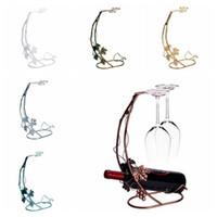 metal şarap şişesi tutacakları toptan satış-Metal Şarap Şişesi Şampanya Depolama Tutucu Raf Bar Braketi Ekran Standı Braketi Dekor Standı 6 Renkler OOA4415