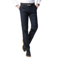 Wholesale Men Dress Suits Cheap - SAROUYA 2018 New Spring Men Business Suit Pants Navy Blue Black Men Dress Pants High Quality Cheap Slim fit Long Trousers 28-42