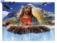 Wholesale abstract jesus - Diy diamond painting cross stitch kit rhinestone mosaic home decor gift snow hill Jesus full round&square diamond 5D embroidery yx2247