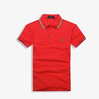 männer s kleid hemden verkauf großhandel-2018 Verkäufe berühmte Business-Männer Shorts Hülse Polo-Shirts Beliebte Baumwolle Stickerei Weizen Polos Custom Designer Fred Hemden gemacht