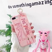 Wholesale panther cover - Pink Panther Leather Phone Case For Iphone X Lovely Case Animal PC Phone Cover With Wristband For Iphone 8 7 6