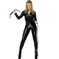 siyah deri kedi kostümleri toptan satış-Siyah Deri Takım Fermuar Kasık Vinil Catsuit Catwoman Disfraces Adultos Seksi Bodysuit Cosplay Kostüm Cadılar Bayramı