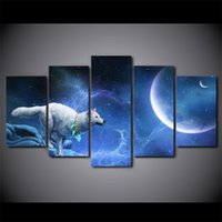 lona todavía vida pintura al por mayor-5 piezas enmarcadas HD Impreso lobo blanco mágico Still Life Canvas Painting Wall Art Picture Home Decor para Linving Room