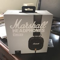 Wholesale headphones remote mic - Marshall Major MK II 2 Headphones New Generation Headset Remote Mic Black DJ Headphones Deep Bass 2nd pk MARSHALL MONITOR AAA Quality