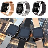 Wholesale three sim cards resale online - Smart Watches Z60 Bluetooth Touch Screen Smartwatch quot Inch Three Color Stainless Steel Watch Support Camera SIM Card SMS Remind For Men