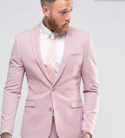 erkekler için pembe smokinler toptan satış-2018 Custom Made Pembe Slim Fit Smokin Erkekler Düğün Damat Resmi Iş Takım Elbise Parti Blazer + Pantolon Suits