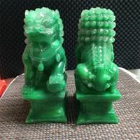 ingrosso arte commerciale-Nuovo creativo verde resina drago arte artigianale intagliato a mano statue leone forma regalo di affari raccogliere ornamento Cina giada naturale squisita 23xq aa