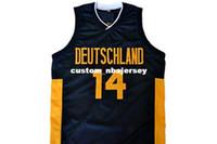maillots noirs allemagne achat en gros de-vente en gros Dirk Nowitzki # 14 Deutschland Allemagne maillot de basket noir cousu Personnaliser un nom de nom MEN FEMMES JEUNES BASKETBALL JERSEYS