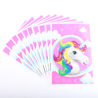 Wholesale Birthday Party Supplies Themes - 20pcs lot Unicorn Theme Party Gift Bag Party Decoration Plastic Candy Bag Loot For Kids Birthday Festival Supplies