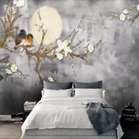 chinesische farbe stifte großhandel-Stift- und Blumenvogel der chinesischen Art des Chinesen 3d handgemalte Blume und Vogel Fernsehhintergrundwand Schlafzimmerwohnzimmerportal-Tapetenwandgemälde