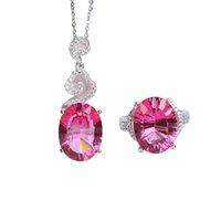 conjunto de jóias de topázio rosa venda por atacado-Atacado marca zircão 925 sterling silver gemstone natural rosa topázio anel de cristal pingente de colar de jóias conjunto