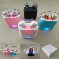 Wholesale black twin set - I7S Colorful Crystal Lid TWS Twins Mini Bluetooth Earphones Pair Set With Charger Box Case Headsets In-ear Music Earbuds For iPhone Samsung