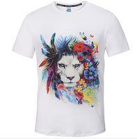 Wholesale white tiger shirt online – design Summer T Shirt White O Neck Fashion Men D Tiger Printed Short Sleeve T Shirt Top Tees M XL