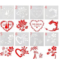 Wholesale Coffee Stencils - Cake stencil bakery tool Love wedding flower fondant mold DIY baking tool Fancy coffee printing model